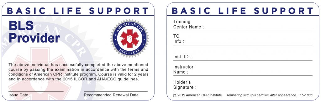 American CPR Institute Card ( BASIC LIFE SUPPORT ) 03